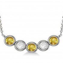 Diamond & Yellow Sapphire 5-Stone Pendant Necklace 14k White Gold 2.00ct