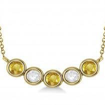 Diamond & Yellow Sapphire 5-Stone Pendant Necklace 14k Yellow Gold 2.00ct