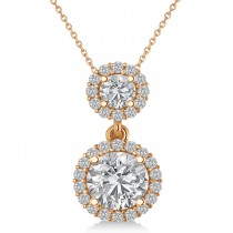 Two Stone Halo Diamond Pendant Necklace 14k Rose Gold (1.50ct)