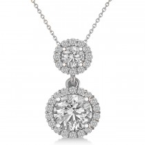 Two Stone Halo Diamond Pendant Necklace 14k White Gold (1.50ct)
