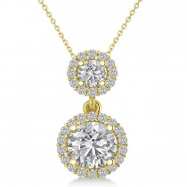 Two Stone Halo Diamond Pendant Necklace 14k Yellow Gold (1.50ct)