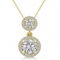 Two Stone Halo Diamond Pendant Necklace 14k Yellow Gold (1.50ct)