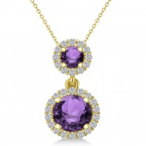 Two Stone Amethyst & Halo Diamond Necklace 14k Yellow Gold (1.50ct)