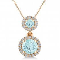 Two Stone Aquamarine & Halo Diamond Necklace 14k Rose Gold (1.50ct)
