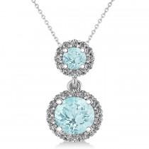 Two Stone Aquamarine & Halo Diamond Necklace 14k White Gold (1.50ct)