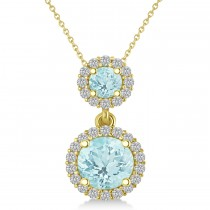 Two Stone Aquamarine & Halo Diamond Necklace 14k Yellow Gold (1.50ct)
