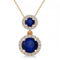 Two Stone Blue Sapphire & Halo Diamond Necklace 14k Rose Gold (1.50ct)