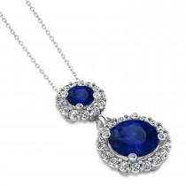 Two Stone Blue Sapphire & Halo Diamond Necklace 14k White Gold (1.50ct)|escape