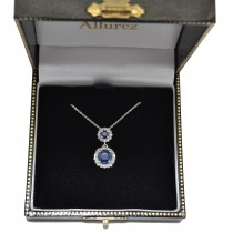 Two Stone Blue Sapphire & Halo Diamond Necklace 14k White Gold (1.50ct)