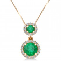 Two Stone Emerald & Halo Diamond Necklace 14k Rose Gold (1.50ct)