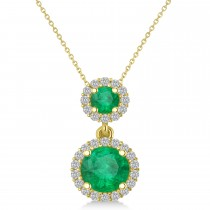 Two Stone Emerald & Halo Diamond Necklace 14k Yellow Gold (1.50ct)