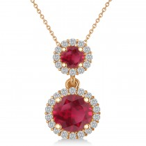 Two Stone Ruby & Halo Diamond Necklace  14k Rose Gold (1.50ct)