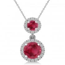 Two Stone Ruby & Halo Diamond Necklace 14k White Gold (1.50ct)