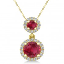 Two Stone Ruby & Halo Diamond Necklace 14k Yellow Gold (1.50ct)
