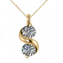 Diamond Swirl Two Stone Pendant Necklace 14k Yellow Gold (1.00ct)