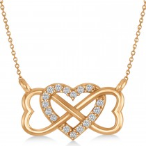 Infinity & Heart Diamond Pendant Necklace 14k Rose Gold (0.09ct)