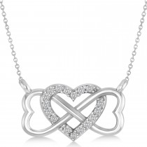 Infinity & Heart Diamond Pendant Necklace 14k White Gold (0.09ct)