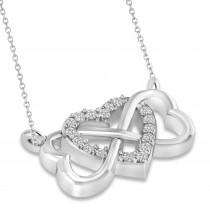 Infinity & Heart Diamond Pendant Necklace 14k White Gold (0.09ct)