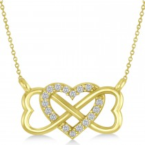 Infinity & Heart Diamond Pendant Necklace 14k Yellow Gold (0.09ct)