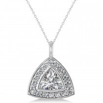 Diamond Trillion Cut Halo Pendant Necklace 14k White Gold (1.86ct)
