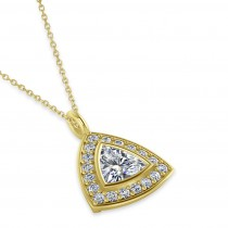 Diamond Trillion Cut Halo Pendant Necklace 14k Yellow Gold (1.86ct)