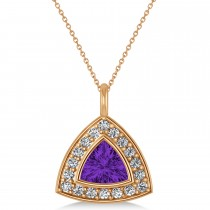 Amethyst Trillion Cut Halo Pendant 14k Rose Gold (1.86ct)