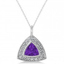 Amethyst Trillion Cut Halo Pendant Necklace 14k White Gold (1.31ct)
