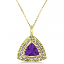 Amethyst Trillion Cut Halo Pendant 14k Yellow Gold (1.86ct)