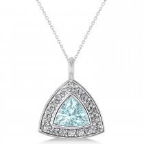Aquamarine Trillion Cut Halo Pendant 14k White Gold (1.86ct)