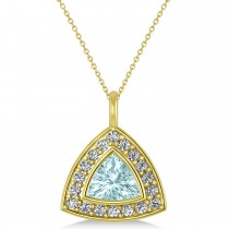Aquamarine Trillion Cut Halo Pendant 14k Yellow Gold (1.86ct)