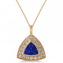 Blue Sapphire Trillion Cut Halo Pendant 14k Rose Gold (1.86ct)