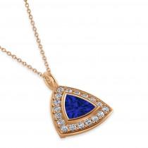 Blue Sapphire Trillion Cut Halo Pendant 14k Rose Gold (1.86ct)
