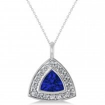 Blue Sapphire Trillion Cut Halo Pendant 14k White Gold (1.86ct)
