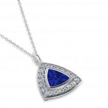 Blue Sapphire Trillion Cut Halo Pendant 14k White Gold (1.86ct)