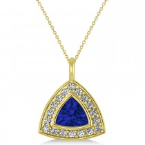Blue Sapphire Trillion Cut Halo Pendant 14k Yellow Gold (1.86ct)