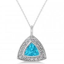 Blue Topaz Trillion Cut Halo Pendant Necklace 14k White Gold (1.86ct)
