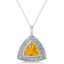 Citrine Trillion Cut Halo Pendant 14k White Gold (1.86ct)