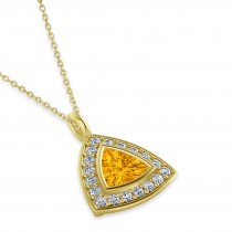 Citrine Trillion Cut Halo Pendant 14k Yellow Gold (1.86ct)