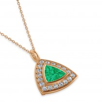 Emerald Trillion Cut Halo Pendant 14k Rose Gold (1.86ct)