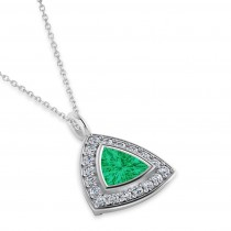 Emerald Trillion Cut Halo Pendant 14k White Gold (1.86ct)