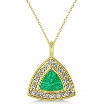 Emerald Trillion Cut Halo Pendant 14k Yellow Gold (1.86ct)