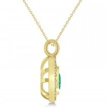 Emerald Trillion Cut Halo Pendant 14k Yellow Gold (1.86ct)