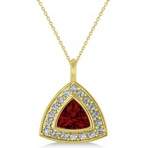 Garnet Trillion Cut Halo Pendant 14k Yellow Gold (1.86ct)