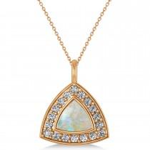 Opal Trillion Cut Halo Pendant Necklace 14k Rose Gold (1.11ct)