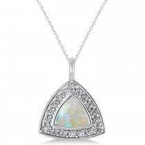 Opal Trillion Cut Halo Pendant Necklace 14k White Gold (1.11ct)