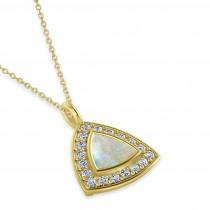 Opal Trillion Cut Halo Pendant Necklace 14k Yellow Gold (1.11ct)