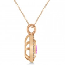 Pink Sapphire Trillion Cut Halo Pendant 14k Rose Gold (1.86ct)