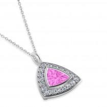 Pink Sapphire Trillion Cut Halo Pendant 14k White Gold (1.86ct)