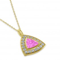 Pink Sapphire Trillion Cut Halo Pendant 14k Yellow Gold (1.86ct)