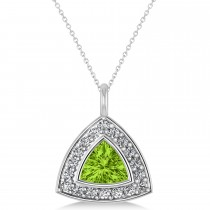 Peridot Trillion Cut Halo Pendant 14k White Gold (1.86ct)